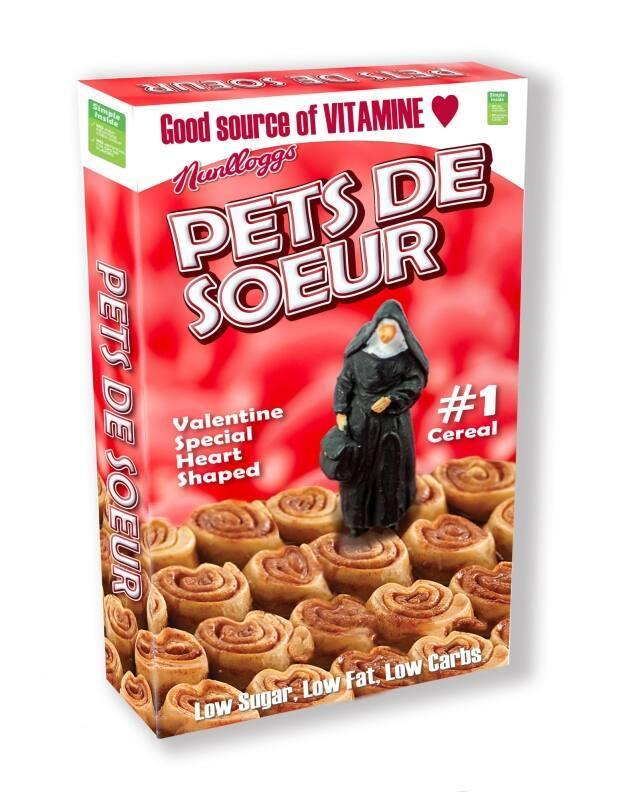 """For Day 327, LeBlanc created a box of """"Pets de Soeurs"""" cereal, based on the traditional Acadian cinnamon roll treat, which translates to """"nun farts."""""""