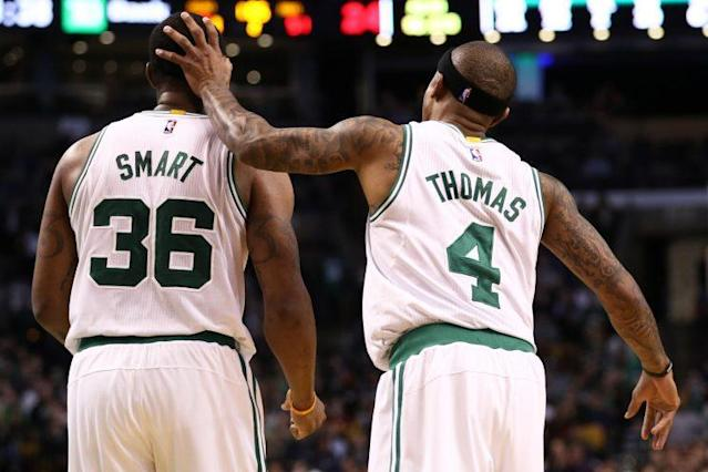 """<a class=""""link rapid-noclick-resp"""" href=""""/nba/players/5317/"""" data-ylk=""""slk:Marcus Smart"""">Marcus Smart</a> and Isaiah Thomas could both be free agents in 2018. Will the Celtics pay both of them? (Getty)"""