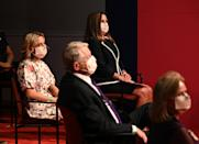 Daughter of US Vice President Mike Pence, Charlotte Pence Bond, and her mother Karen Pence (C rear) attends the vice presidential debate in Kingsbury Hall at the University of Utah on October 7, 2020, in Salt Lake City, Utah. (Photo by Robyn Beck / AFP) (Photo by ROBYN BECK/AFP via Getty Images)