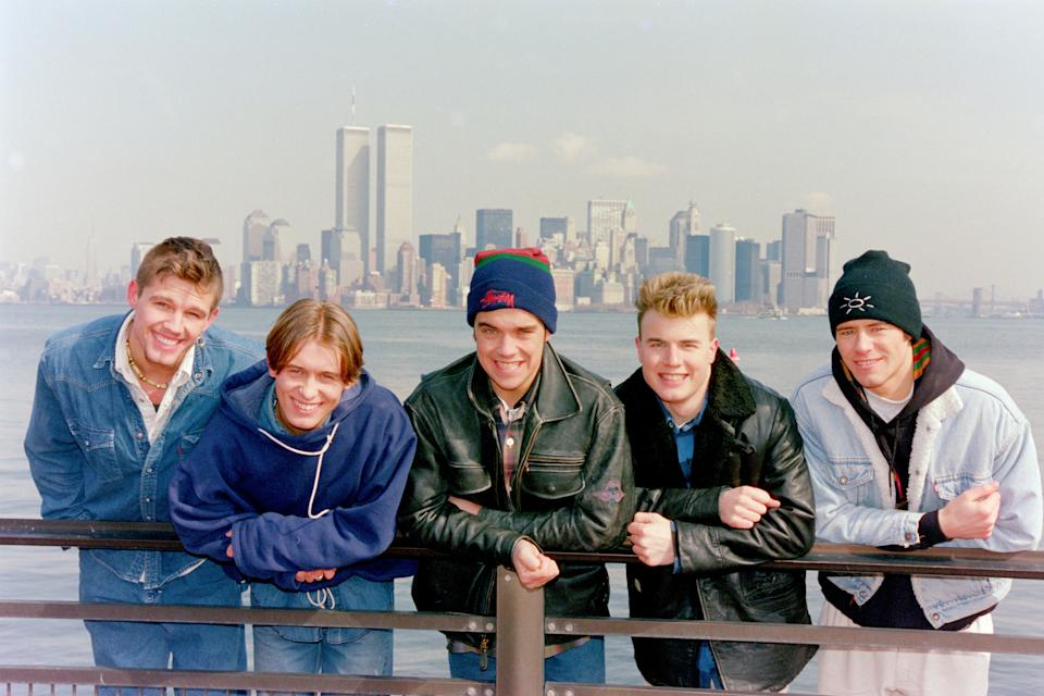 Mark Owen, Howard Donald, Gary Barlow, Robbie Williams and Jason Orange of Take That in New York, 1995 (Photo by DaveHogan/Getty Images)