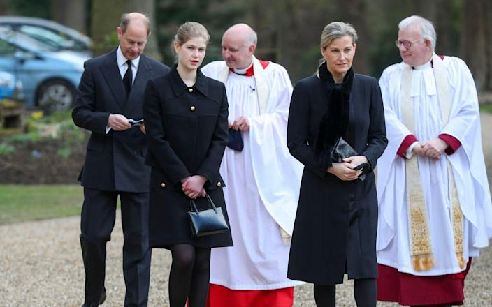 The Earl and Countess of Wessex, with their daughter Lady Louise Windsor, attend the Sunday service at the Royal Chapel of All Saints at Royal Lodge, Windsor - Steve Parsons