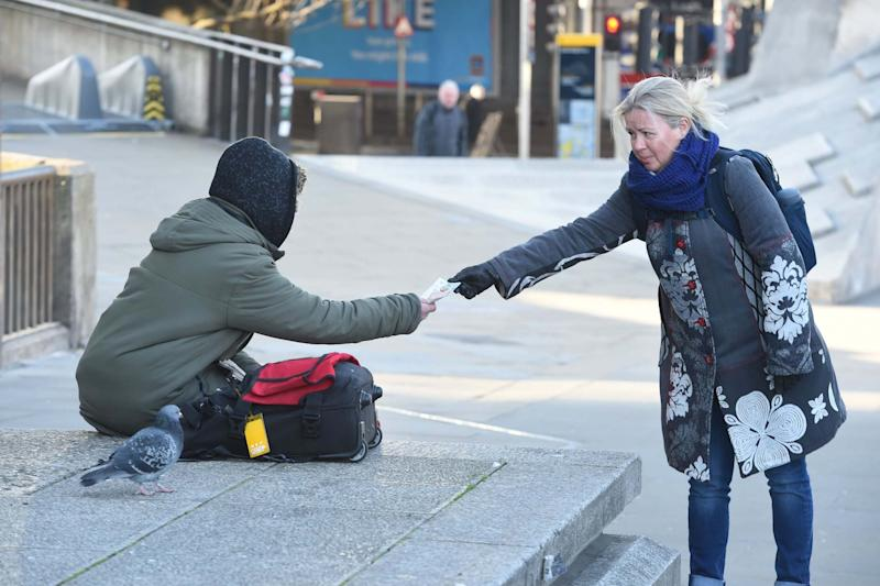 A homeless woman in London during the lockdown (Evening Standard / eyevine)