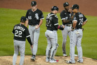 Chicago White Sox manager Tony La Russa (22) takes the ball from relief pitcher Garrett Crochet (45) during the seventh inning of a baseball game against the Pittsburgh Pirates in Pittsburgh, Tuesday, June 22, 2021. (AP Photo/Gene J. Puskar)