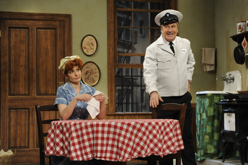 "Tina Fey and Alec Baldwin in the ""Live from Studio 6H"" episode of ""<a href=""http://tv.yahoo.com/30-rock/show/37064"">30 Rock</a>."""