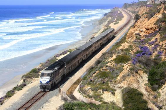 Amtrak Coast Starlight goes past untouched stretches of beach (Amtrak)
