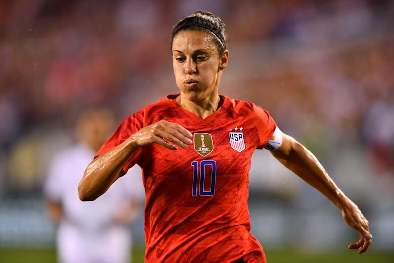 Carli Lloyd added fuel to the talk over her NFL prospects during a USWNT friendly. (Getty)