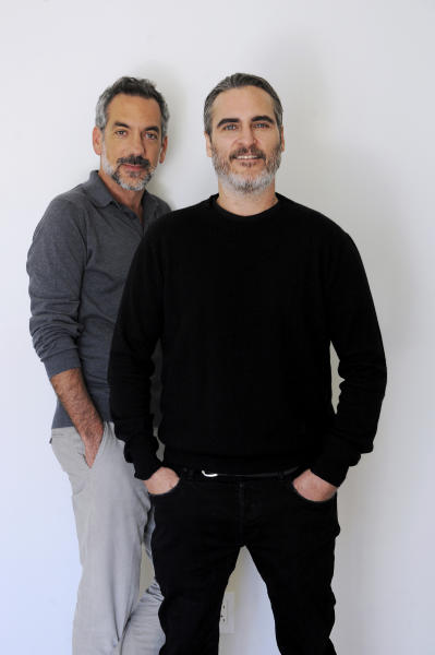 "This Sept. 20, 2019 photo shows director Todd Phillips, left, and actor Joaquin Phoenix during a portrait session for the film ""Joker,"" at the Four Seasons Hotel in Beverly Hills, Calif. (AP Photo/Richard Hartog)"