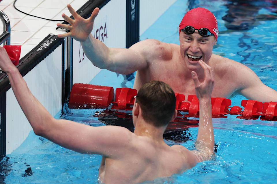 Tom Dean and Duncan Scott celebrate their one-two for Team GB in the pool (Getty Images)