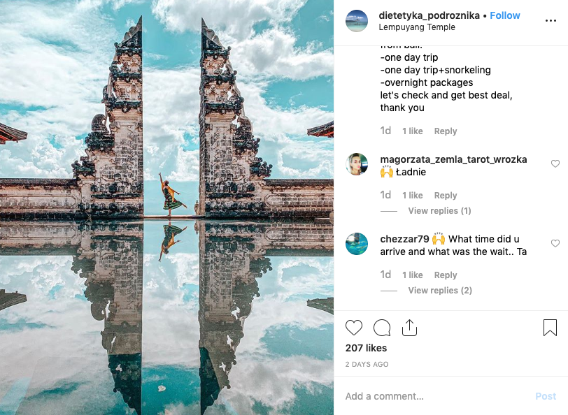 The Hindu temple is located Bali's highlands of Mount Lempuyang. (Photo: Instagram)