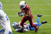 Arizona Cardinals wide receiver Andy Isabella (17) runs in for a touchdown after the catch as Detroit Lions cornerback Darryl Roberts during the second half of an NFL football game, Sunday, Sept. 27, 2020, in Glendale, Ariz. (AP Photo/Rick Scuteri)