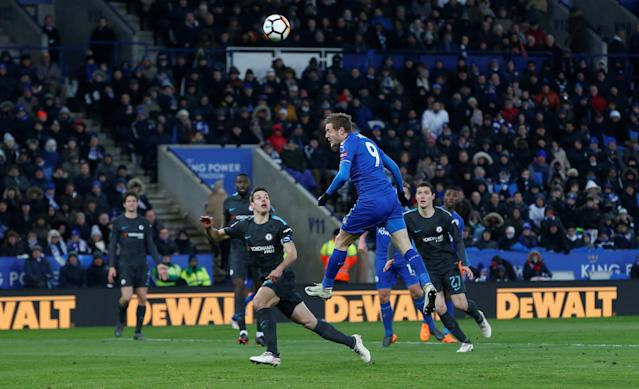 Soccer Football - FA Cup Quarter Final - Leicester City vs Chelsea - King Power Stadium, Leicester, Britain - March 18, 2018 Leicester City's Jamie Vardy misses a chance to score REUTERS/Andrew Yates
