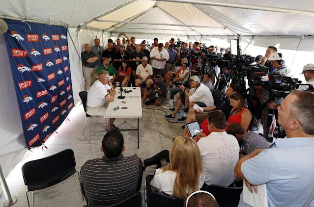 John Elway, Denver Broncos executive vice president of football operations, talks to the media during a news conference announcing that Broncos owner Pat Bowlen is giving up control of the team because of Alzheimer's disease, Wednesday, July 23, 2014, at the teams headquarters in Englewood, Colo. (AP Photo/Jack Dempsey)