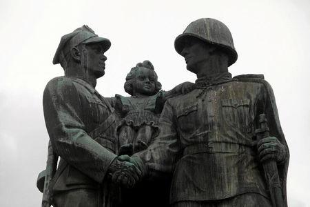 Part of the monument of the Gratitude for the Soviet Army Soldiers is pictured in Legnica, Poland July 11, 2013. Agencja Gazeta/Mieczyslaw Michalak via REUTERS