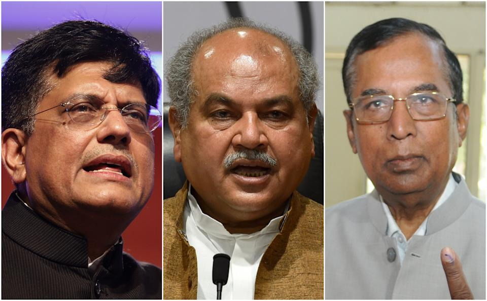 Union Agriculture Minister Narendra Singh Tomar, Railways and Commerce and Industry Minister Piyush Goyal and Minister of State for Commerce Som Parkash.