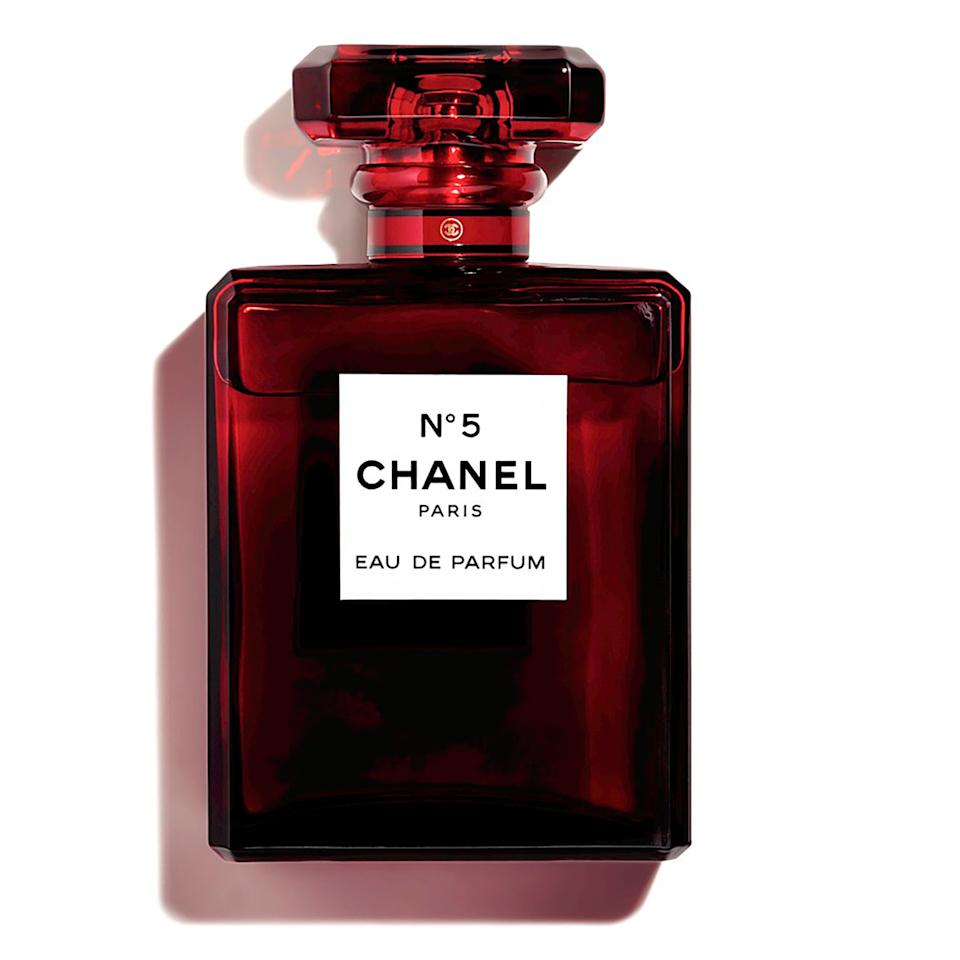 """<p>There is always a woman on the list who would love to receive a Chanel perfume for Christmas. This holiday season, surprise her with the new limited edition of No. 5 that arrives in a fiery red festive bottle.</p> <p><strong>Buy now:</strong> Chanel No. 5 Eau de Parfum, 3.4 oz, $160, <a rel=""""nofollow"""" href=""""https://www.chanel.com/us/fragrance/limited-edition-chanel-n5/%7B:target=_blank%7D%7B:%20rel=nofollow%7D"""">chanel.com</a></p>"""
