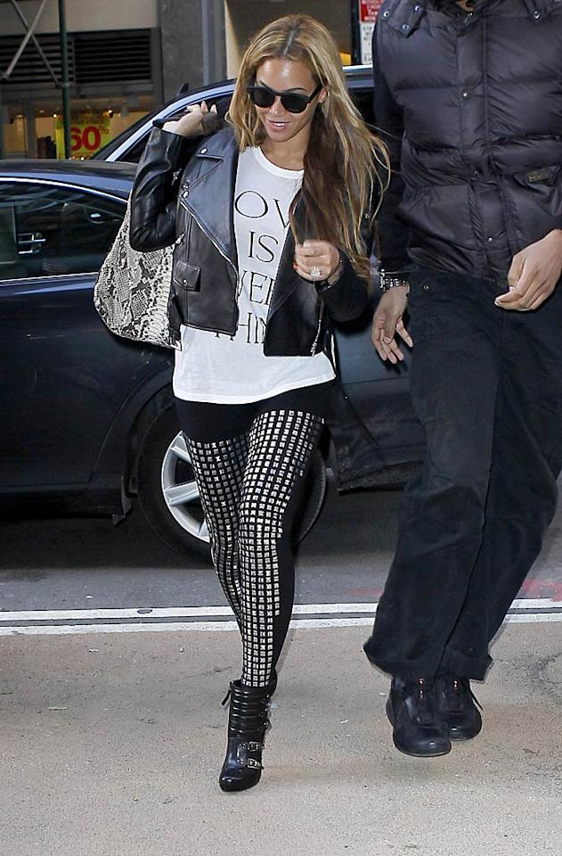 """Beyonce's studded leggings ... fashion-forward or fashion faux pas? Discuss! <a href=""""http://www.infdaily.com"""" target=""""new"""">INFDaily.com</a> - January 4, 2011"""