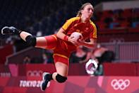 <p>Montenegro's pivot Tatjana Brnovic jumps to shoot during the women's preliminary round group A handball match between Montenegro and South Korea of the Tokyo 2020 Olympic Games at the Yoyogi National Stadium in Tokyo on July 31, 2021. (Photo by Daniel LEAL-OLIVAS / AFP)</p>