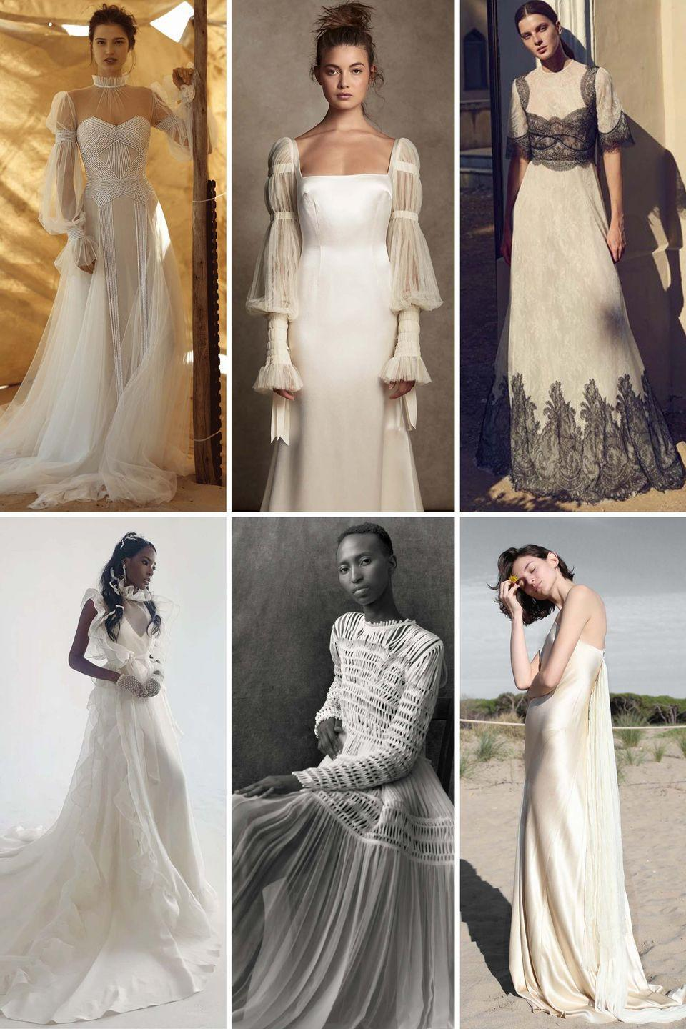 "<p>This is yet another update to the <a href=""https://www.harpersbazaar.com/wedding/bridal-fashion/g7685/bohemian-boho-wedding-dresses/"" rel=""nofollow noopener"" target=""_blank"" data-ylk=""slk:boho bride"" class=""link rapid-noclick-resp"">boho bride</a> of bridal's past—but this year, she comes with an added polish. Bishop sleeves, smocking, empire waists, and an overall ease characterize this look, which is equal parts Victoriana and fashion fairy nymph.</p><p>While each designer interpreted this effortless, chic, at times prairie-inspired look differently—some more modern than others—this is for the girl looking to tap into her inner romantic, without dabbling in festival dressing.</p><p><em>Clockwise from left: Dana Harel Spring 2021; Danielle Frankel Fall 2020; Costarellos Resort 2021; Odylyne: The Ceremony Fall 2021; Maison Rabih Kayrouz Fall 2020; Cortana Fall 2020. </em></p>"