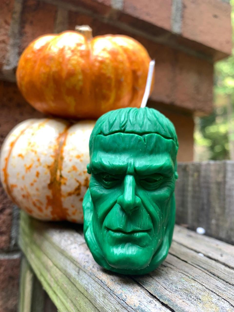 """<p>From the color to the scent, this <span>Frankenstein Candle</span> ($14) is completely customizable. A <a class=""""link rapid-noclick-resp"""" href=""""https://www.popsugar.com/Halloween"""" rel=""""nofollow noopener"""" target=""""_blank"""" data-ylk=""""slk:Halloween"""">Halloween</a> icon, Frankenstein deserves a spot on your mantle, bookshelf, or coffee table. </p>"""