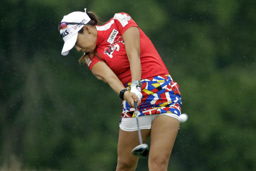 Jenny Shin, of South Korea, a hits her tee shot on the ninth hole during the second round of the LPGA Drive On Championship golf tournament at Inverness Golf Club in Toledo, Ohio, Saturday, Aug. 1, 2020. (AP Photo/Gene J. Puskar)