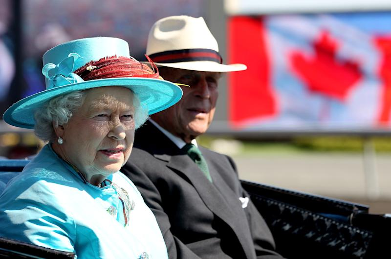 TORONTO, ON - JULY 04: Queen Elizabeth II and Prince Philip, Duke of Edinburgh arrive at the Woodbine Racetrack for 151st Running of The Queen�s Plate Stakes on July 4, 2010 in Toronto, Canada. The Queen and Duke of Edinburgh are on an eight day tour of Canada starting in Halifax and finishing in Toronto. The trip is to celebrate the centenary of the Canadian Navy and to mark Canada Day. On July 6th The royal couple will make their way to New York where the Queen will address the UN and visit Ground Zero. (Photo by Chris Jackson-Pool/Getty Images)