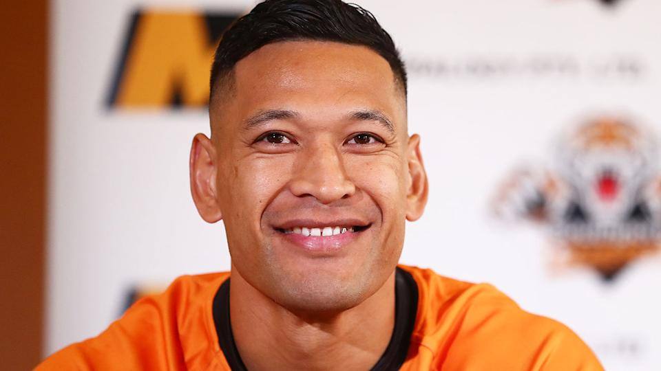 Israel Folau is seen here speaking about his bid to return to rugby league in Australia.
