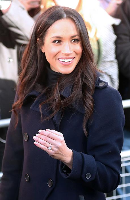 Meghan Markle at her first Royal Engagement wearing her new engagement ring