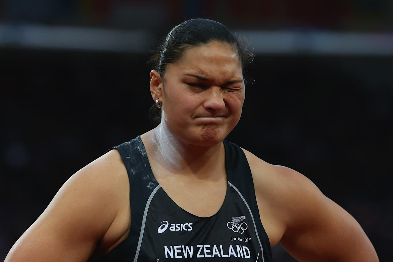 LONDON, ENGLAND - AUGUST 06:  Valerie Adams of New Zealand reacts after winning the silver medal in the Women's Shot Put final on Day 10 of the London 2012 Olympic Games at the Olympic Stadium on August 6, 2012 in London, England.  (Photo by Alexander Hassenstein/Getty Images)