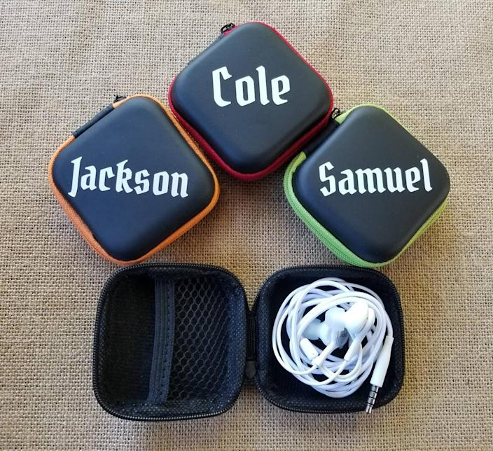 Personalized earbud case - birthday gift for kids - earbud holder - teen birthday - custom charger case - gift under 10 - kids birthday gift