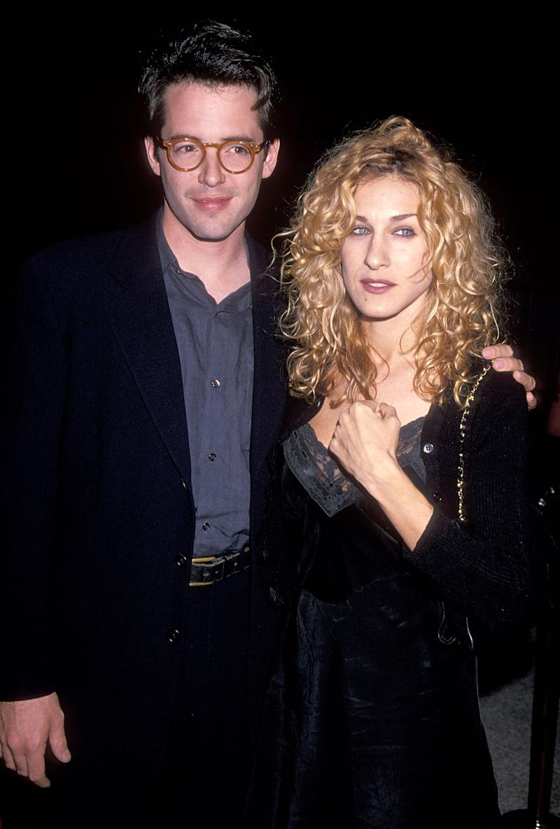 """WESTWOOD, CA - OCTOBER 9: Actor Matthew Broderick and actress Sarah Jessica Parker attend """"The Road to Wellville"""" Westwood Premiere on October 9, 1994 at Avco Centre Cinemas in Westwood, California. (Photo by Ron Galella, Ltd./WireImage)"""