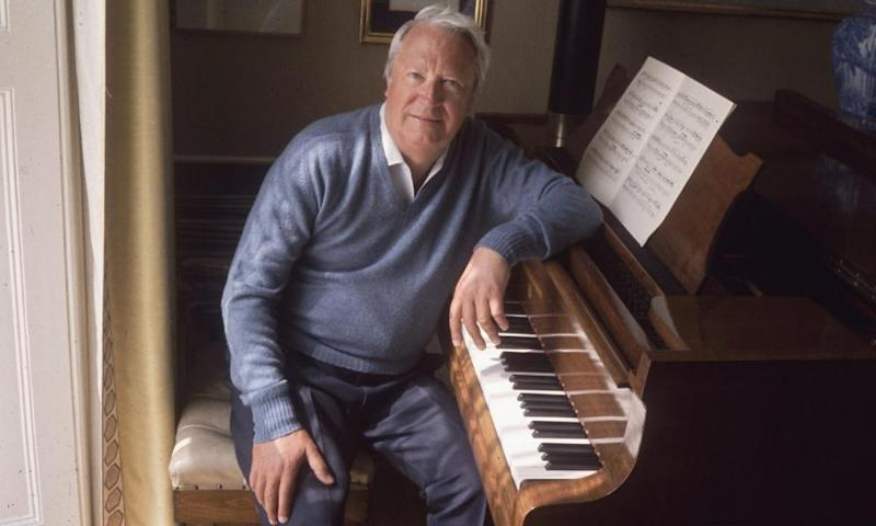 Edward Heath at his piano in 1975.