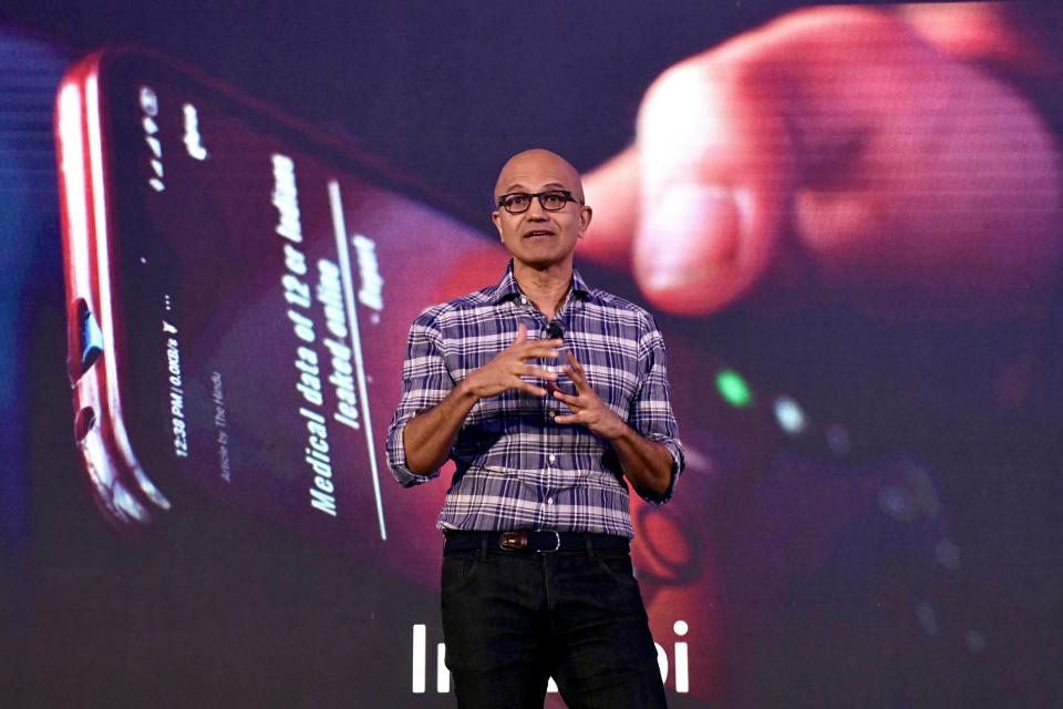 Microsoft Corporation Chief Executive Officer, Satya Nadella, gestures as he addresses the Future Decoded Tech Summit in Bangalore on February 25, 2020. (Photo by Manjunath Kiran / AFP) (Photo by MANJUNATH KIRAN/AFP via Getty Images)