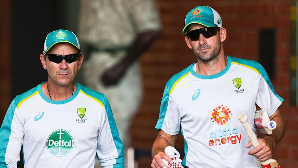 Pictured here, opener Joe Burns with Aussie coach Justin Langer.