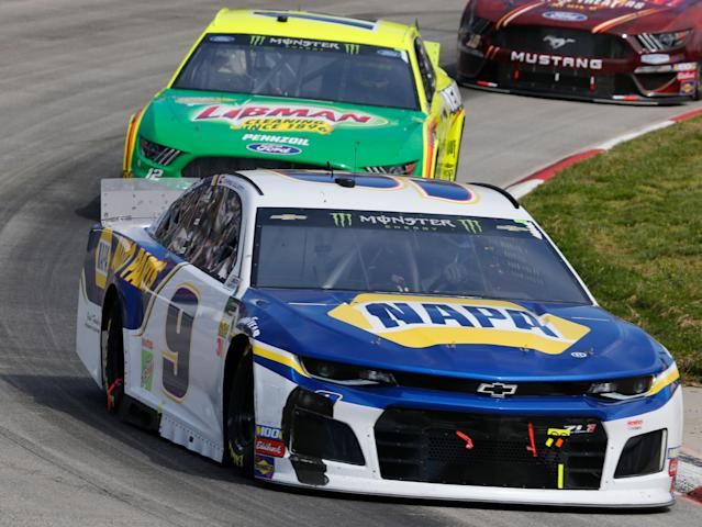 Chase Elliott finished second and Ryan Blaney was fourth. (AP Photo/Steve Helber)