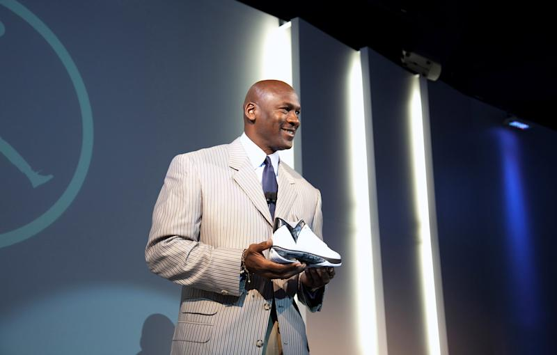 Michael Jordan addresses the media during the launch of the Air Jordan 2009.