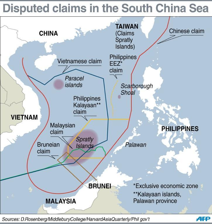 Graphic on contested claims in the South China Sea. (Source: AFP News)