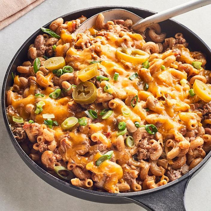 <p>Poblanos add a kick of heat to this chili mac recipe. If that's not your thing, swap in green bell peppers to tone down the heat in this easy pasta dish, which mashes up mac and cheese and chili into a seriously satisfying skillet dinner.</p>