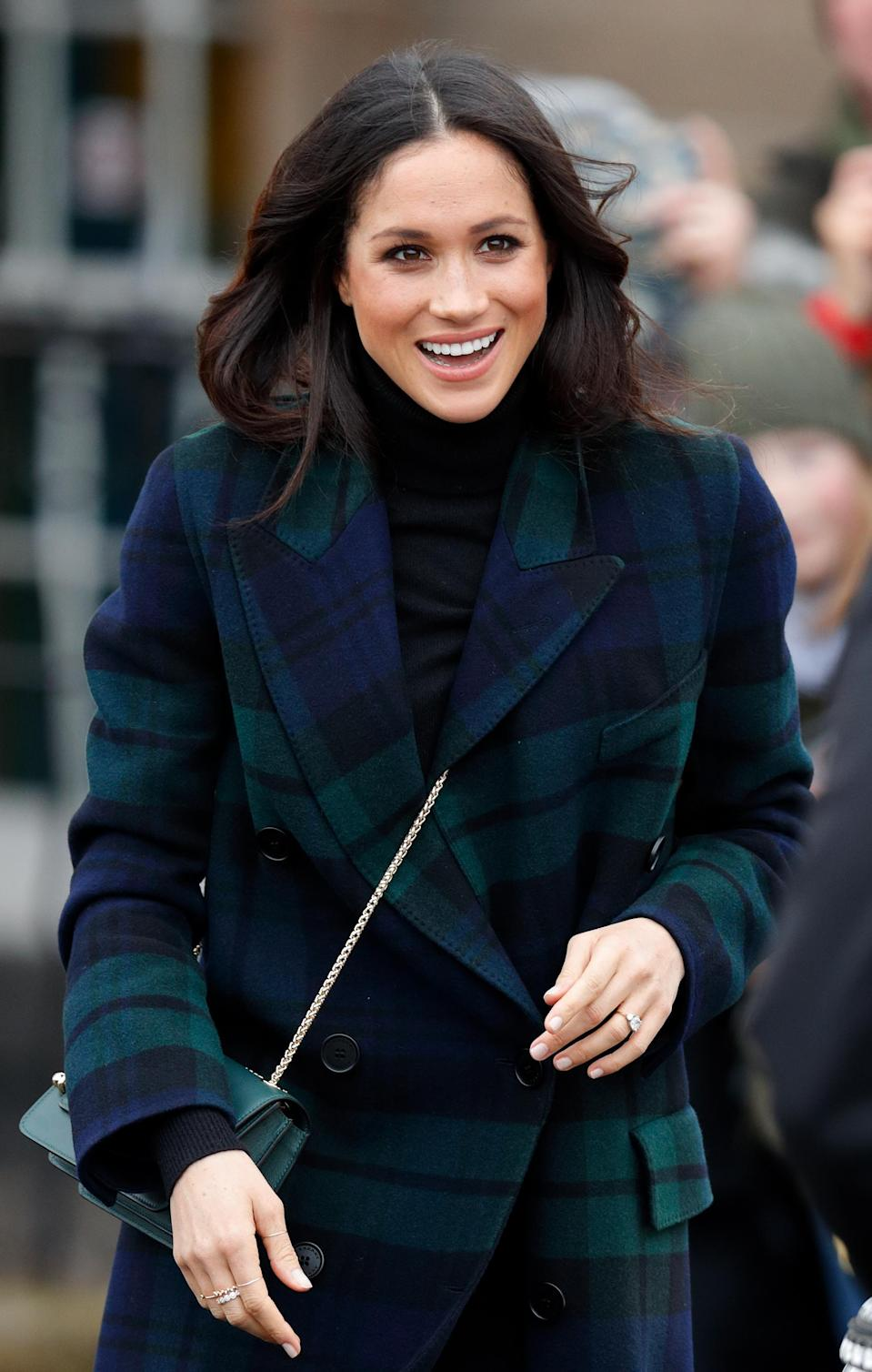 <p>Prior to her wedding, Meghan was seen wearing this Strathbery of Scotland cross body bag on a visit to Edinburgh.<br>Source: Getty </p>