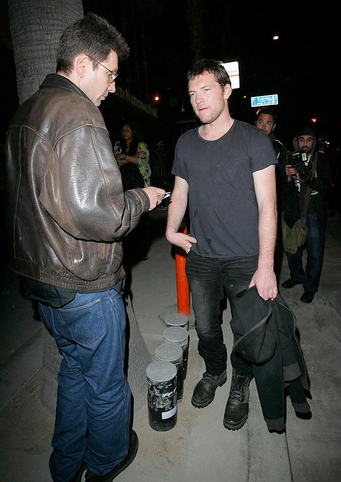 "No, ""Avatar"" actor Sam Worthington didn't get carded at the door. The 33-year-old was just joking around with the paparazzi, which he'll surely tire of after a few more mega-hits like ""Clash of the Titans."" Araujo-Campos-Maciel-Epa-Alphax/<a href=""http://www.x17online.com"" target=""new"">X17 Online</a> - April 13, 2010"