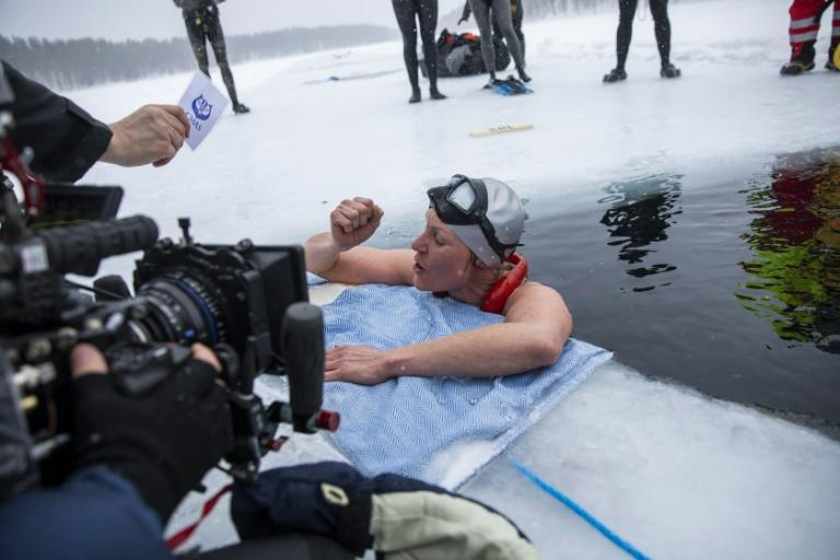 Johanna Nordblad celebrates her new record after her icy plunge in Hossa