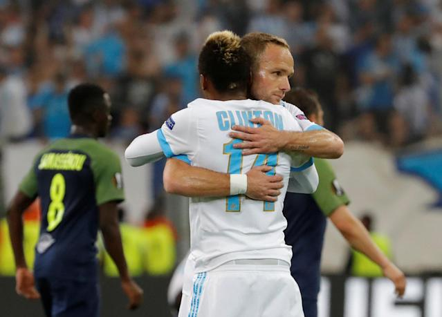 Soccer Football - Europa League Semi Final First Leg - Olympique de Marseille vs RB Salzburg - Orange Velodrome, Marseille, France - April 26, 2018 MMarseille's Valere Germain celebrates with Clinton Njie after the match REUTERS/Eric Gaillard