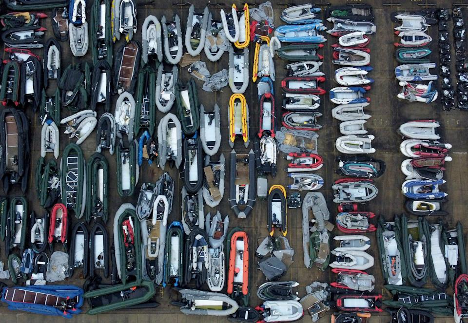 One of two areas now being used at a warehouse facility in Dover, Kent, for boats used by people thought to be migrants (Gareth Fuller/PA) (PA Wire)