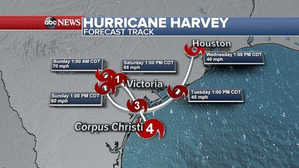 PHOTO: Hurricane Harvey forecast, Aug. 25, 2017. (ABC News)