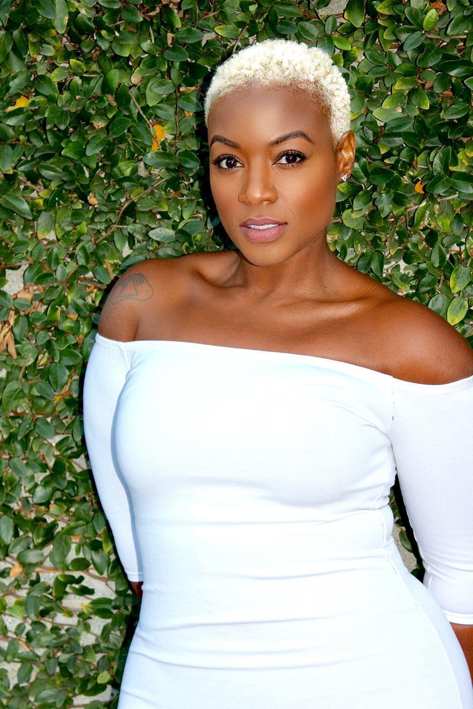 """<p>Emmy-winning actress and singer <a href=""""http://thegalaxymethod.com/"""" rel=""""nofollow noopener"""" target=""""_blank"""" data-ylk=""""slk:Patrice Covington"""" class=""""link rapid-noclick-resp"""">Patrice Covington </a>rocks a short blonde to perfection. """"I keep my blonde moisturized with the old school <a href=""""https://www.amazon.com/Dudleys-Moisture-Retainer-Unisex-Ounce/dp/B000WNLRYS?tag=syn-yahoo-20&ascsubtag=%5Bartid%7C10072.g.34727550%5Bsrc%7Cyahoo-us"""" rel=""""nofollow noopener"""" target=""""_blank"""" data-ylk=""""slk:DUDLEYS PCA Moisturizer"""" class=""""link rapid-noclick-resp"""">DUDLEYS PCA Moisturizer</a> which helps counteract the dryness from the bleach. I also use <a href=""""https://cremeofnature.com/products/pure-honey/hair-care/leave-in-conditioner/"""" rel=""""nofollow noopener"""" target=""""_blank"""" data-ylk=""""slk:Creme of Nature Pure Honey Break Up Breakage"""" class=""""link rapid-noclick-resp"""">Creme of Nature Pure Honey Break Up Breakage</a> as a leave-in conditioner.""""</p>"""