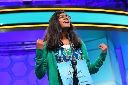 May 31, 2018; National Harbor, MD, USA;  Aisha Randhawa from California spelled the word Marseilles correctly during the 2018 Scripps National Spelling Bee at the Gaylord National Resort and Convention Center. Mandatory Credit: Jack Gruber-USA TODAY NETWORK
