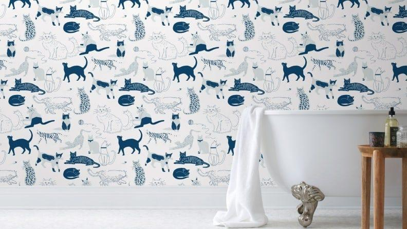 Spruce up your home with cat-themed wallpaper.