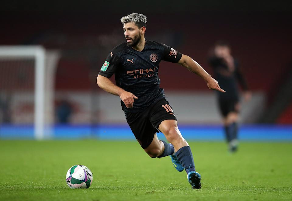 Aguero com a camisa 2 do City 2020/2021. Foto: Nick Potts/PA Images via Getty Images