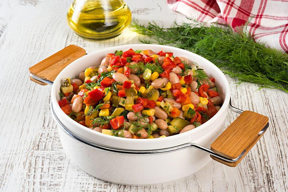 """<p><strong>Weekly servings to aim for: </strong>at least 3</p><p><strong>One serving equals:</strong> 1 ⁄2 cup cooked</p><p>Beans are packed with fiber, which <a href=""""https://www.ncbi.nlm.nih.gov/pmc/articles/PMC4264019/"""" rel=""""nofollow noopener"""" target=""""_blank"""" data-ylk=""""slk:research has linked"""" class=""""link rapid-noclick-resp"""">research has linked</a> to enhanced cognition.<br></p>"""