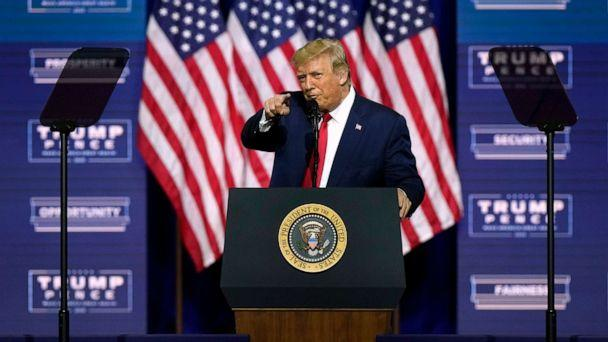 PHOTO: President Donald Trump speaks during a campaign rally, Friday, Sept. 25, 2020, in Atlanta. (John Bazemore/AP)