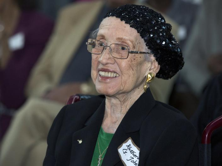 "<span class=""caption"">Katherine Johnson was at the Virginia Air and Space Center in Hampton, Va. in 2016.</span> <span class=""attribution""><a class=""link rapid-noclick-resp"" href=""http://www.apimages.com/metadata/Index/Katherine-Johnson/b3b19c5f53f74e339ecec4b27cd382f8/28/0"" rel=""nofollow noopener"" target=""_blank"" data-ylk=""slk:AP Photo/NASA"">AP Photo/NASA</a></span>"